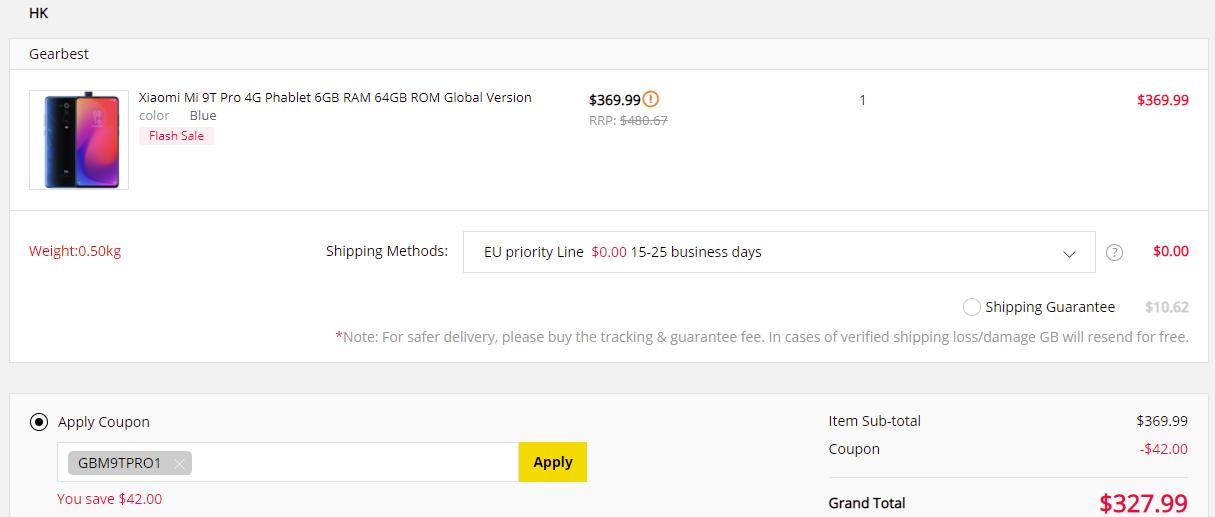 Xiaomi Mi 9T Pro 6/64 Gearbest coupon code proof