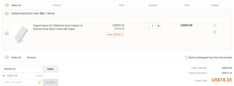 Xiaomi 2C 20000mAh banggood coupon code promo