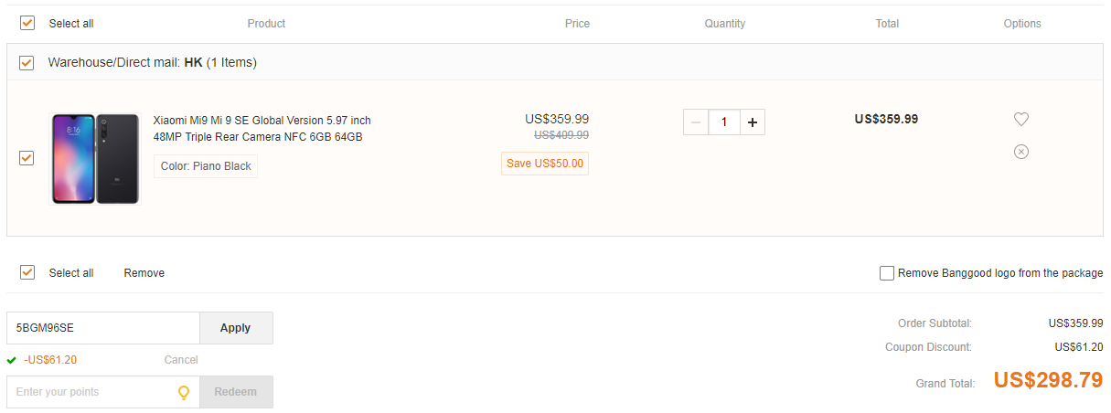 Xiaomi Mi9 Mi 9 SE deal