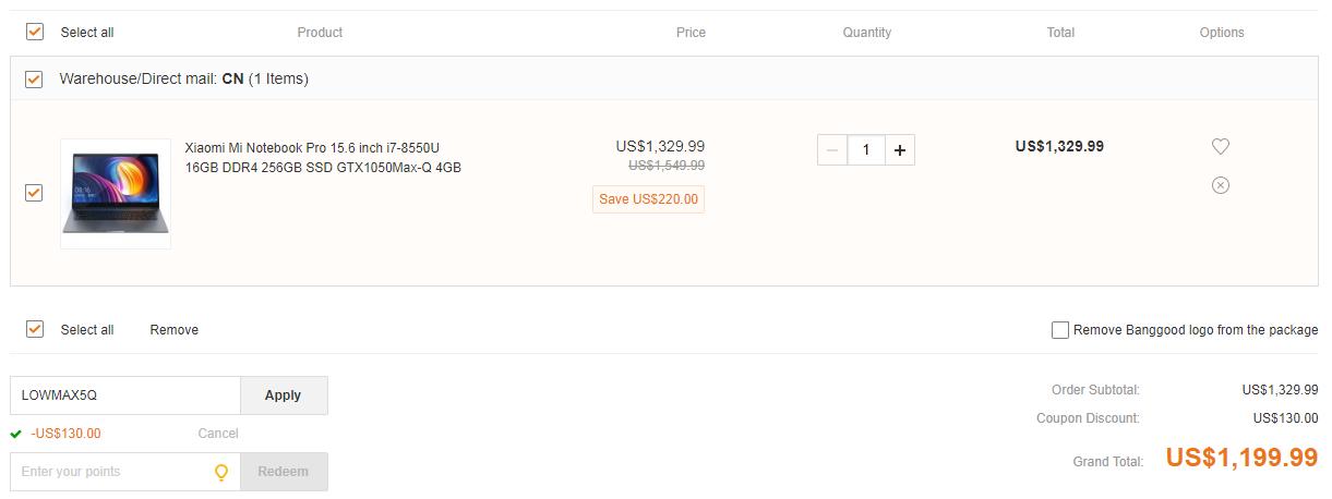 Xiaomi Mi Notebook Pro deal