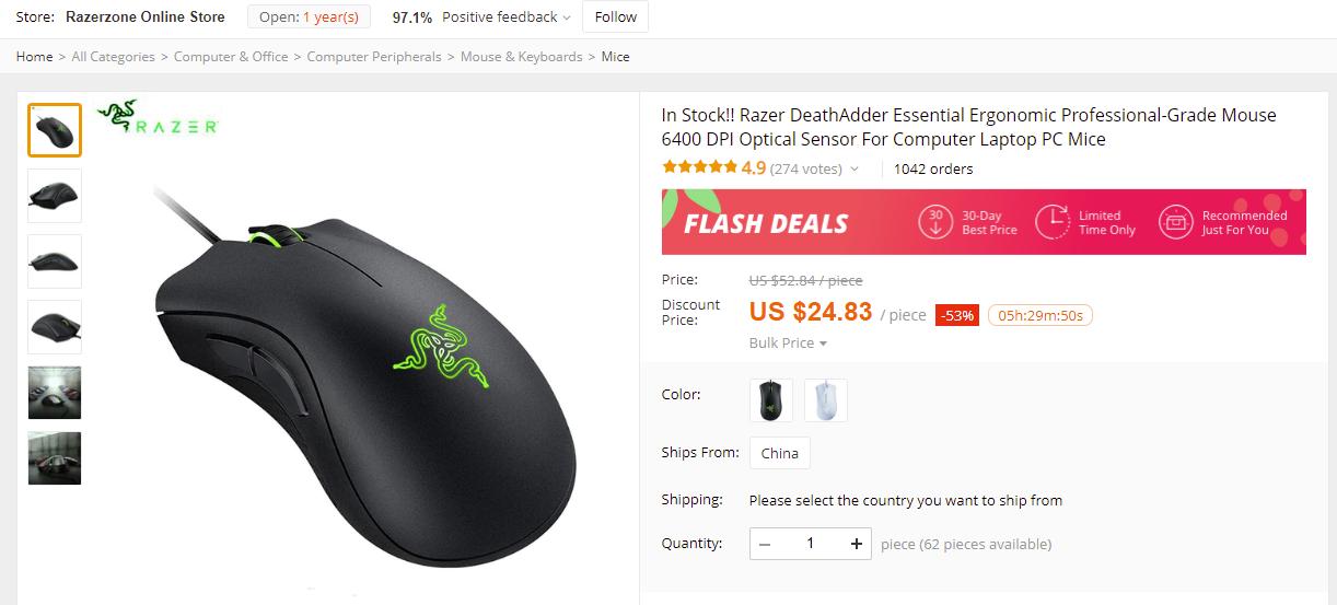 Razer DeathAdder Essential 6400 DPI PC Laptop Mouse for $24 83