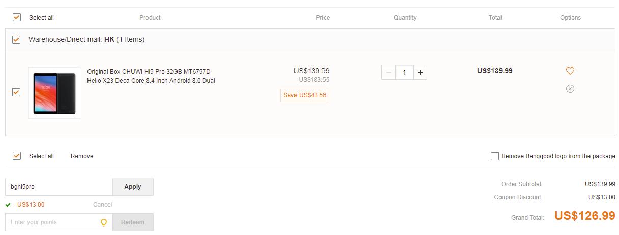 CHUWI Hi9 Pro 32GB banggood coupon