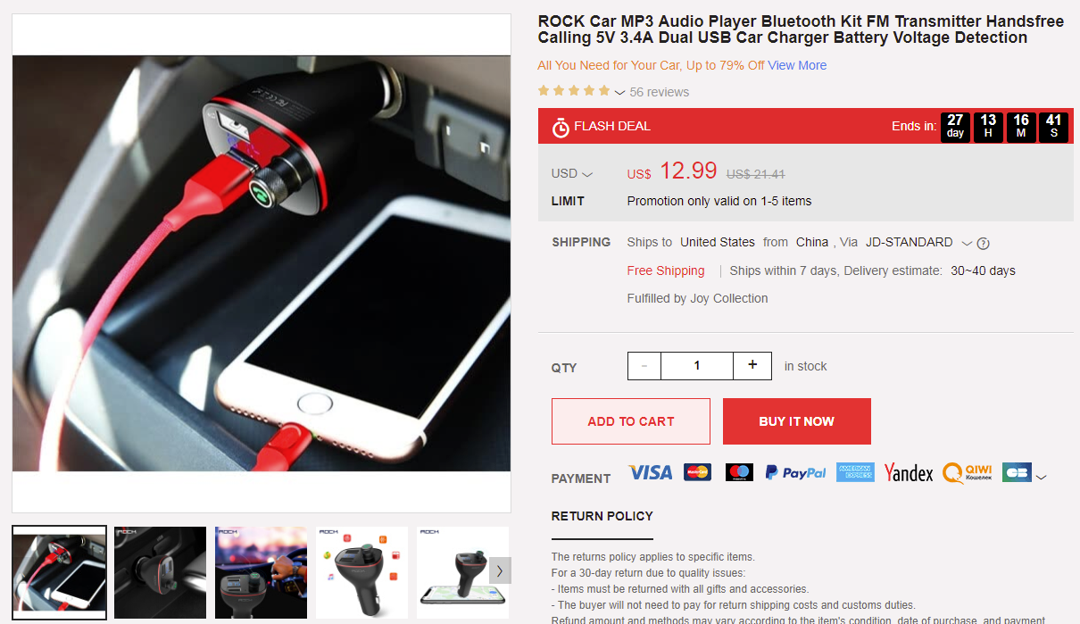 ROCK Car MP3 Audio Player joybuy deal