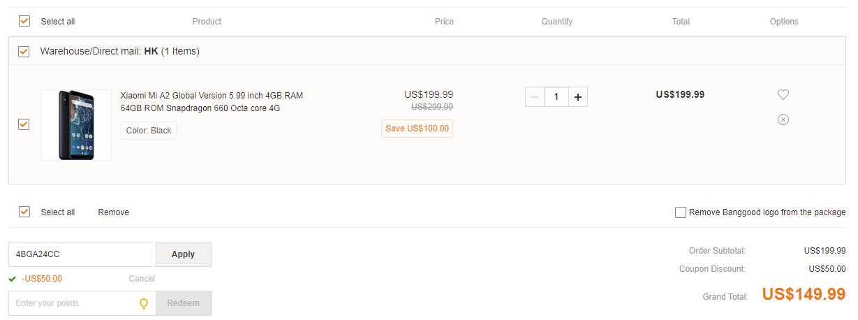 Xiaomi Mi A2 banggood coupon