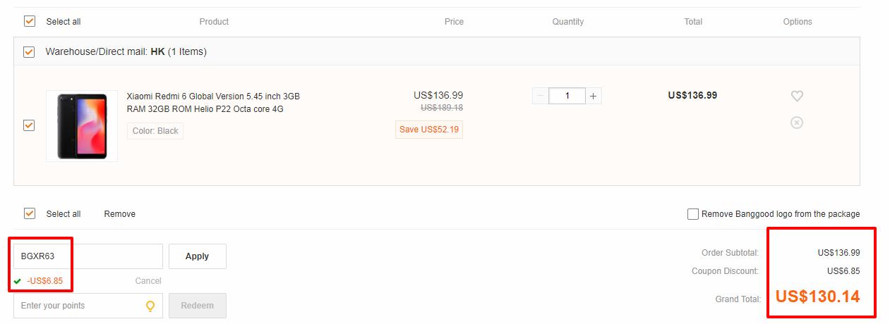 Xiaomi Redmi 6A 2/16GB coupon code